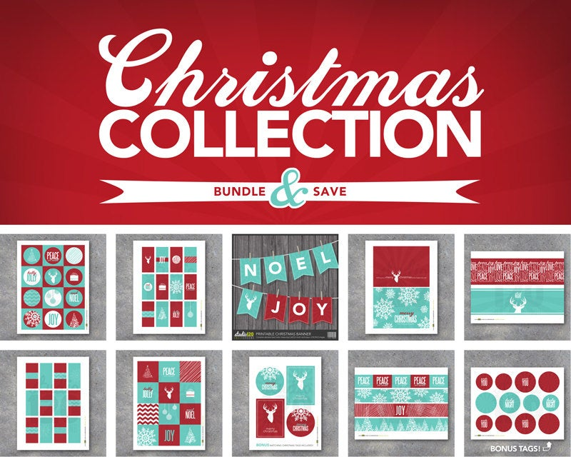 Christmas Collection – Printable – Instant Download – Modern – Christmas – Banners, tags, wraps, labels, gifts, favors, art & holiday décor