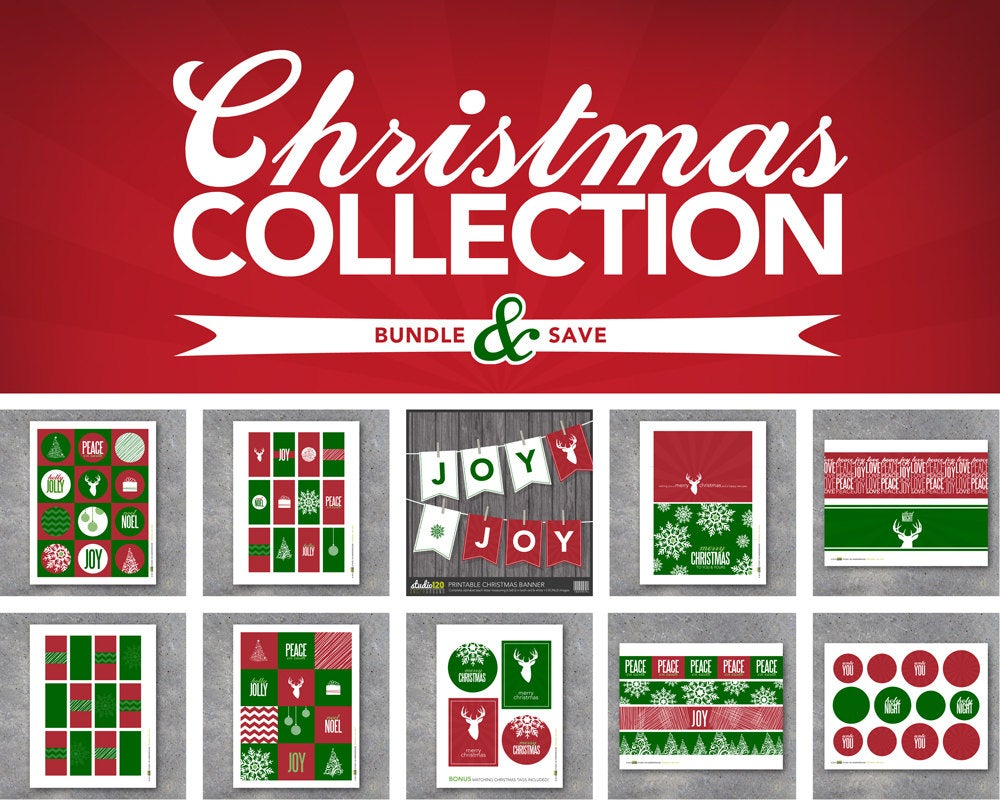 Christmas Collection – Printable – Instant Download – Modern – Christmas – Banners, tags, wraps, labels, gifts, favors, art & holiday decor