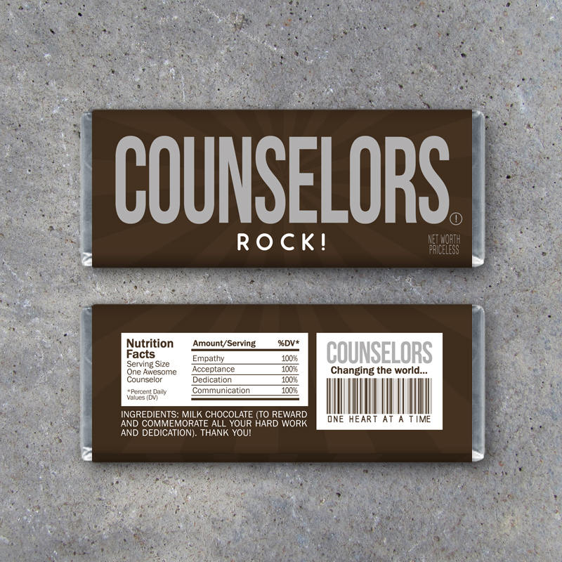 Counselors Rock! Candy Bar Wrappers – Printable Instant Download sized to fit Hershey's bars – Last minute employee appreciation gifts