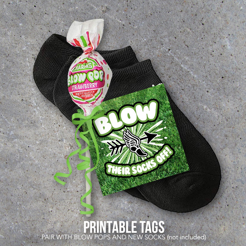 Cross Country Running Good Luck Gift – Blow Their Socks Off Printable Tags to pair with Blow Pops or Socks – DIY Locker Treats for Meet Day