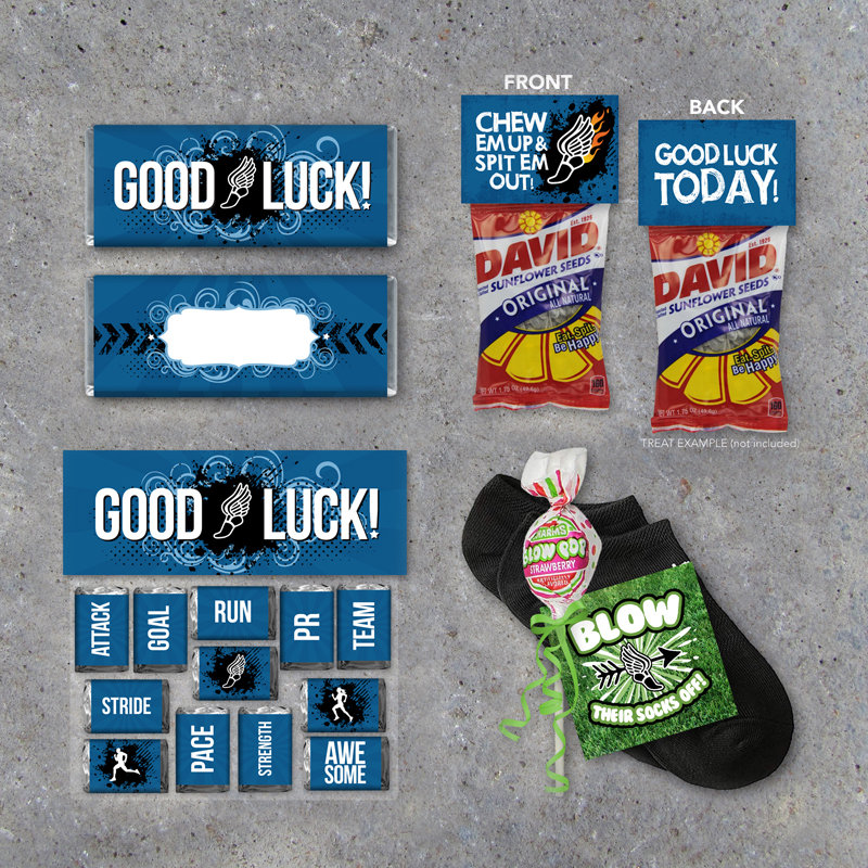 Cross Country Track Good Luck Collection – Printable candy wrappers, treat toppers and tags for track meet or running meet day locker treats
