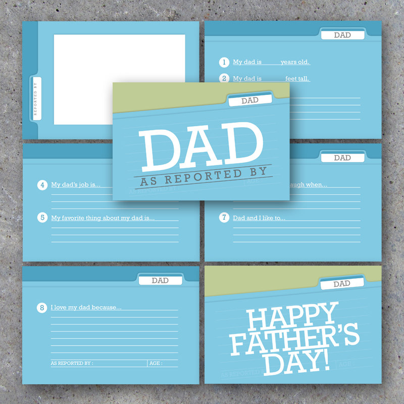 DAD As Reported By – 4×6 Keepsake Scrapbook Mini Album – Printable Interview Cards – DIY Gift for Dad – Father's Day Gift Instant Download