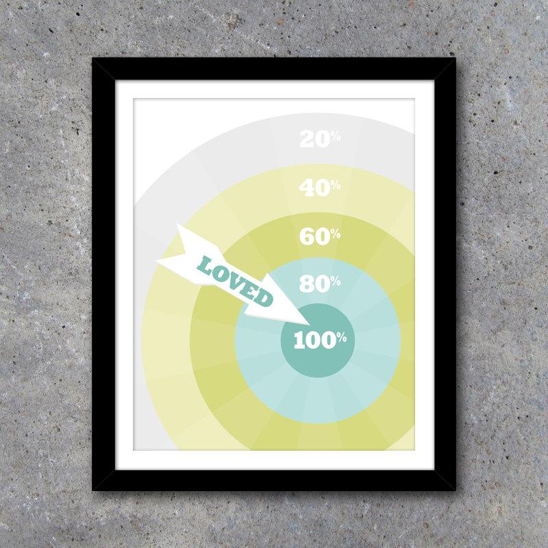 Dartboard 100% Loved Modern Wall Art with BONUS Matching Card – 8×10 Printable Digital File – Modern Home Decor – Game Room Art – Card