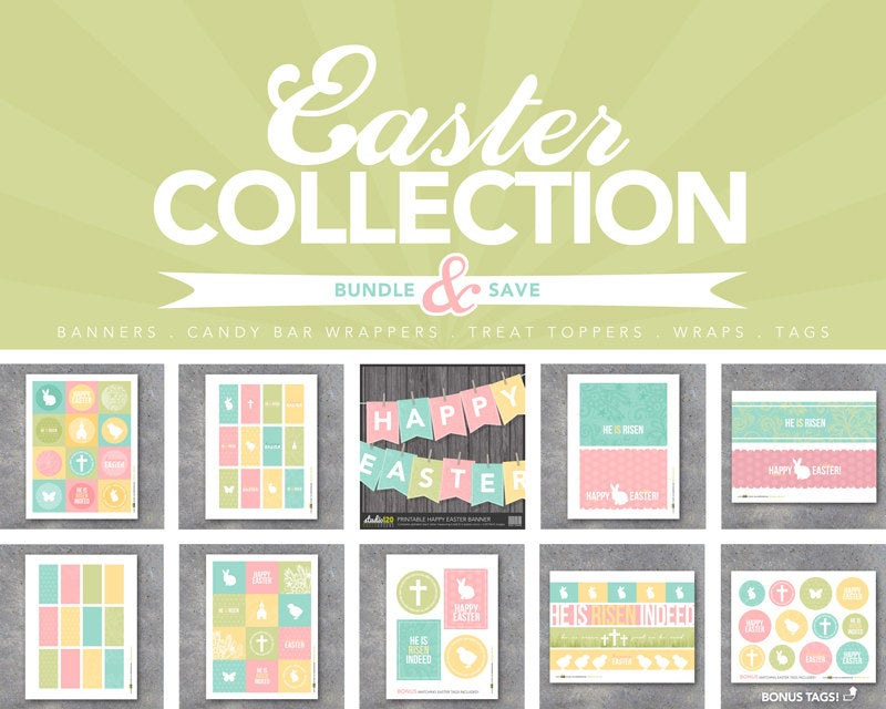 Easter Day Collection – Printable Digital Files – Banners, candy bar wrappers, treat toppers, tags, wraps, gifts, favors, art, decor