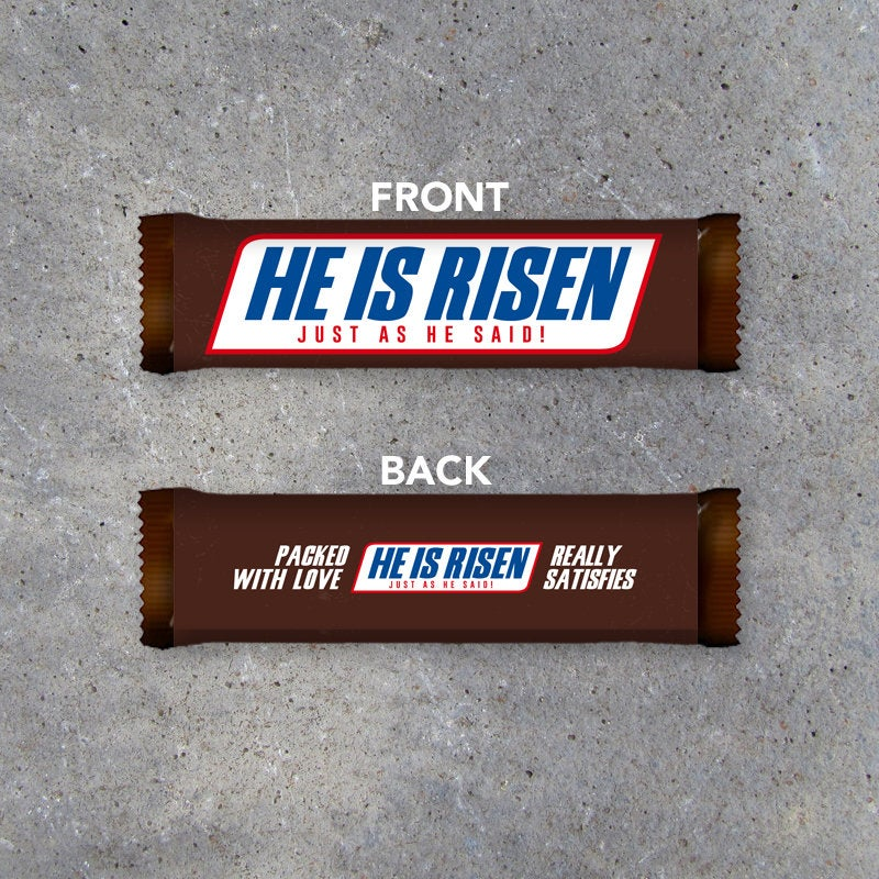 Easter HE IS RISEN Printable Candy Bar Wrappers designed to fit Snickers. Great for Easter baskets and gifts! Happy Easter bonus version!