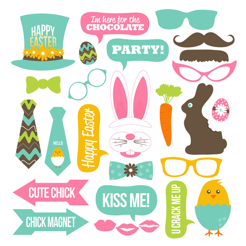 Easter Photo Booth Props Collection – Printable Instant Download – Party Decor – DIY Easter Photo Props – Easter Party Ideas – Bunny – Chick
