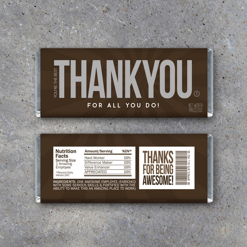 "EMPLOYEE APPRECIATION GIFT – Printable ""Thank You"" Candy Bar Wrappers Instant Download – Co-worker Employee Appreciation Day Thank You Gift"