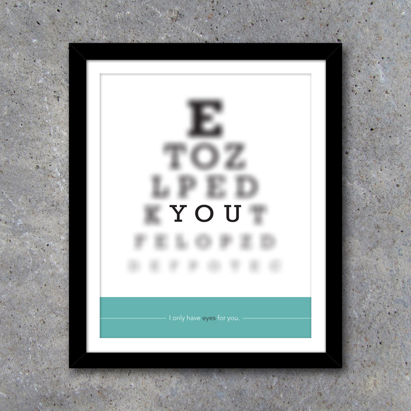 EYES FOR YOU Modern Wall Art – Printable Digital File – 8×10 – Teal – Gift – Anniversary Gift – Valentine's Gift – Romantic
