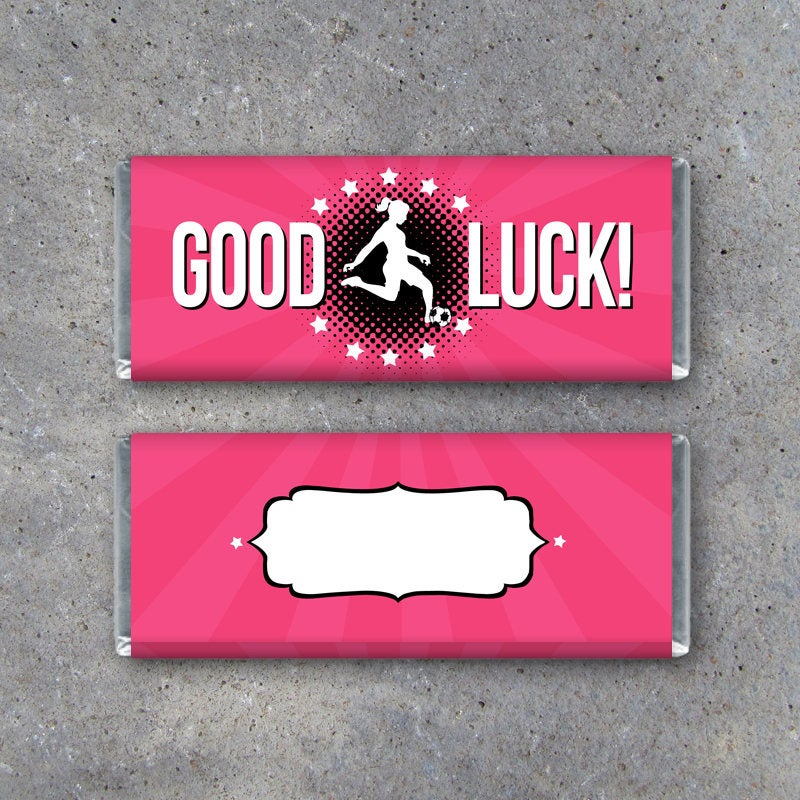 Female Soccer GOOD LUCK Candy Bar Wrapper – Sports Printable Instant Download – DIY Hershey's Soccer Gift Idea – Soccer Team Game Day Treats