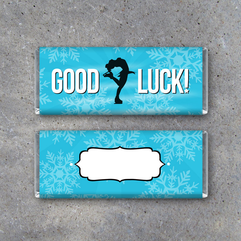 Figure Skating GOOD LUCK Candy Bar Wrapper – Printable Download – Ice Skating Hershey's Wrapper – Figure Skater Gifts for Competition