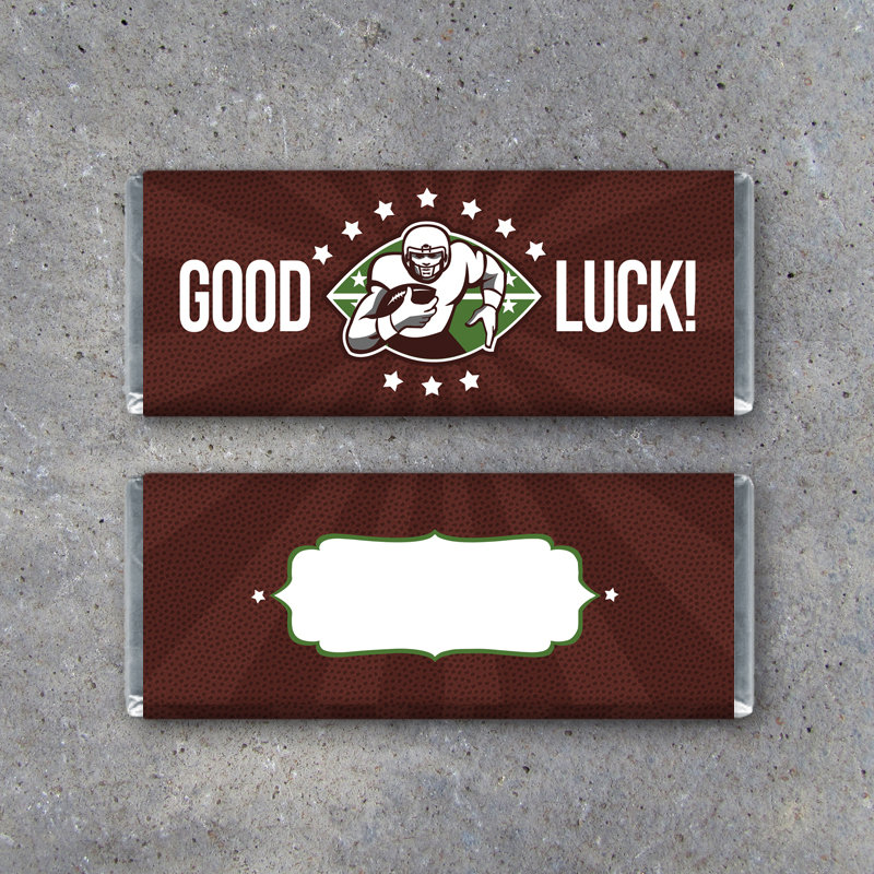 Football GOOD LUCK Candy Bar Wrapper–Printable Instant Download with football leather background for Game Day Locker Treats – Football Gifts