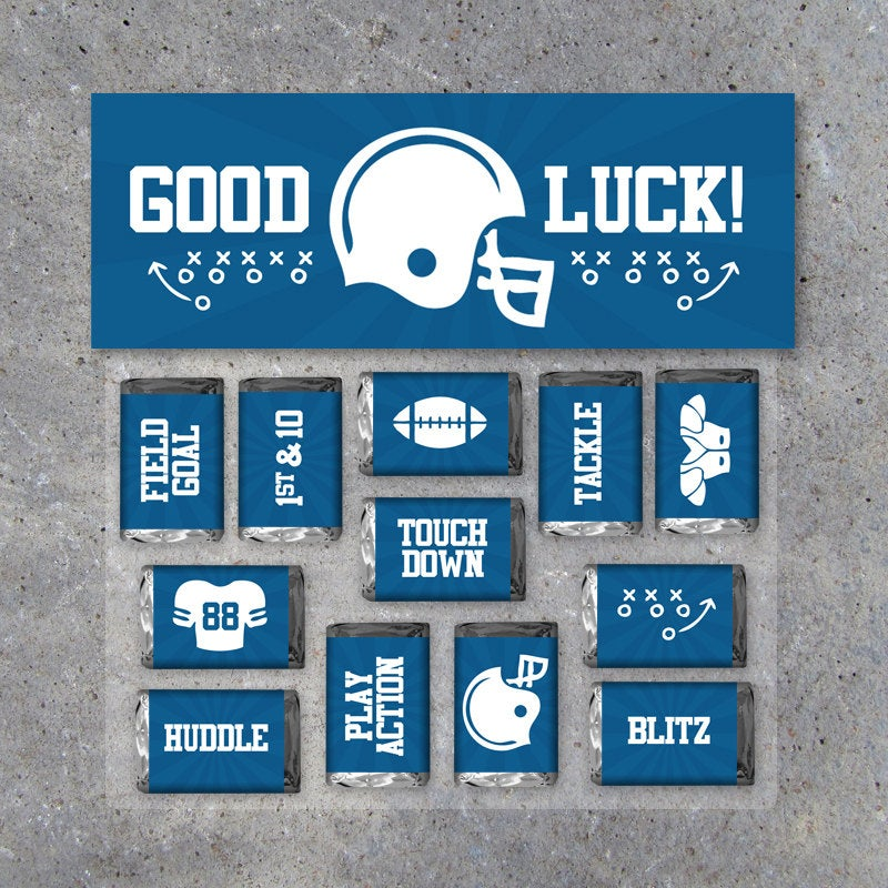"""Football Mini Candy Bar Wrappers and Matching Treat Toppers featuring """"Good Luck"""" or """"Great Job""""! Printable Instant Download in Blue"""