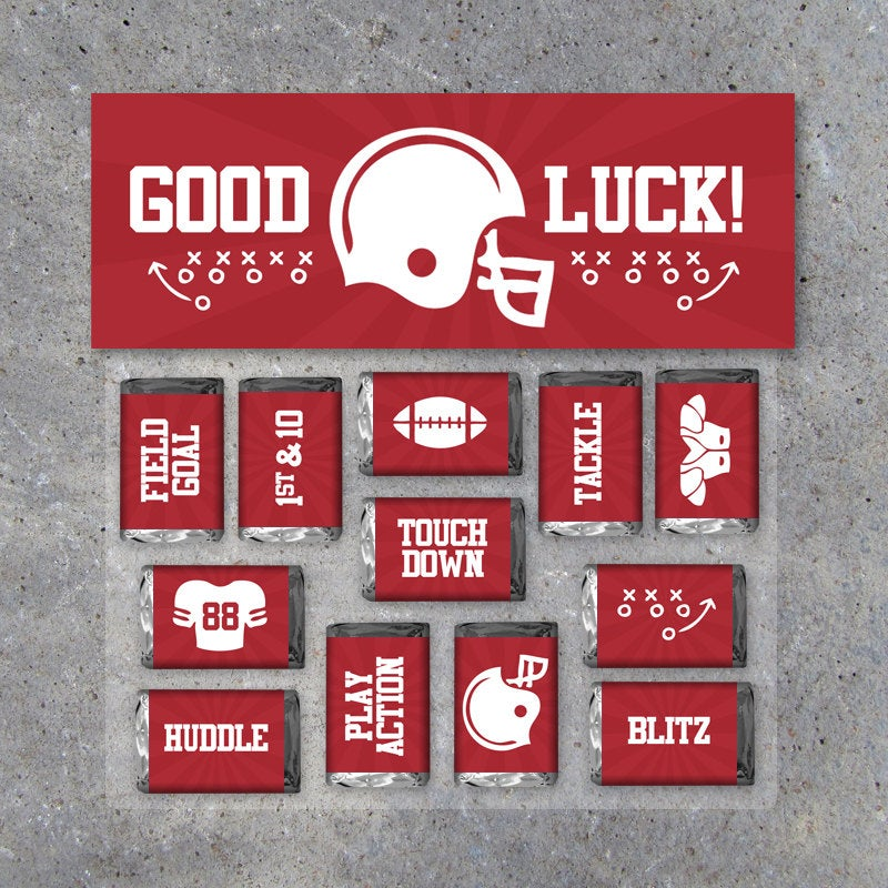 """Football Mini Candy Bar Wrappers and Matching Treat Toppers featuring """"Good Luck"""" or """"Great Job""""! Printable Instant Download in Red"""
