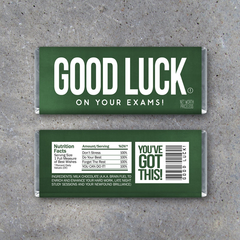 GOOD LUCK On Your Exams Candy Bar Wrappers – Printable Instant Download – Student Gift – Final Exams Gift – College Care Package Gift Idea