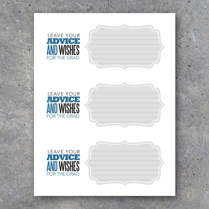 Graduation Advice Cards with Matching Display Tent Card – Graduation Activities – Graduation Keepsakes – Instant Download Printable Files