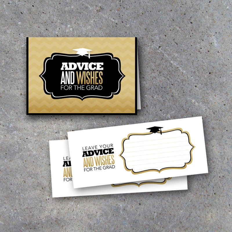 Graduation Advice Cards with Matching Display Tent Card in Black and Gold – Graduation Activities – Graduation Keepsake – Printable Download
