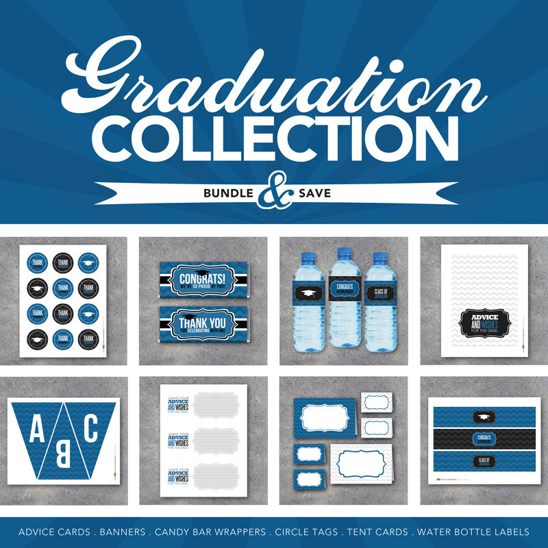 Graduation Collection in Blue – Printable Digital Files–Advice Cards, Banner, Candy Bar Wrappers, Tags, Tent Cards and Water Bottle Labels!