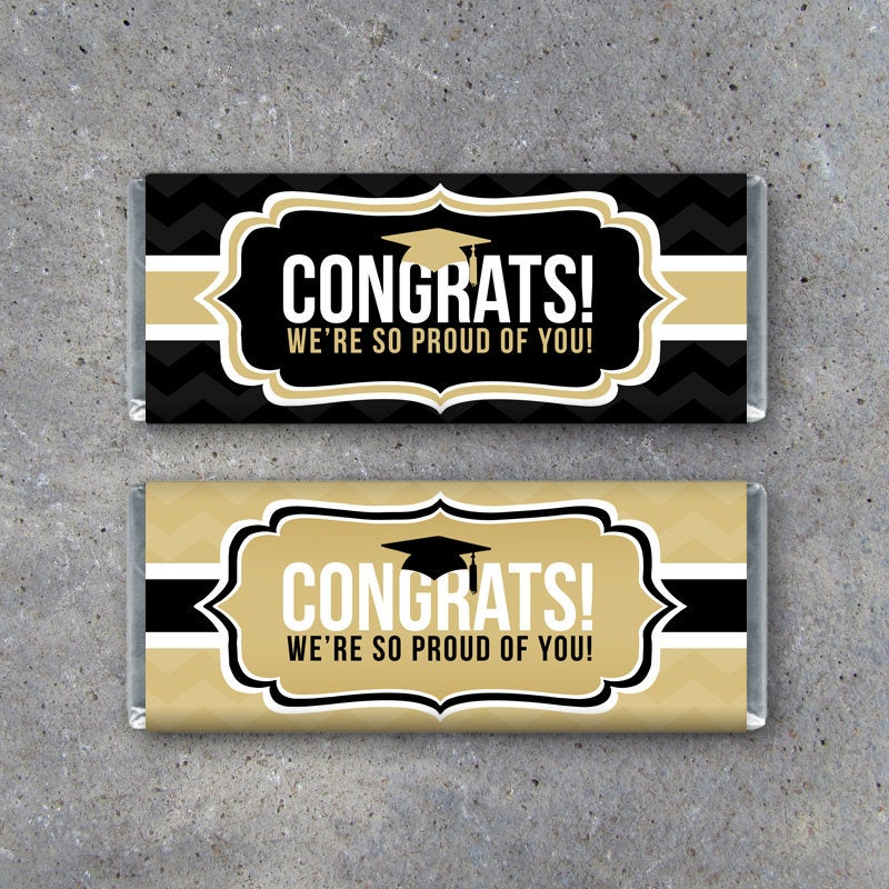 Graduation CONGRATS Candy Bar Wrappers in Black and Gold – Printable Instant Downloads – Graduation Party Favors – DIY Graduation Ideas