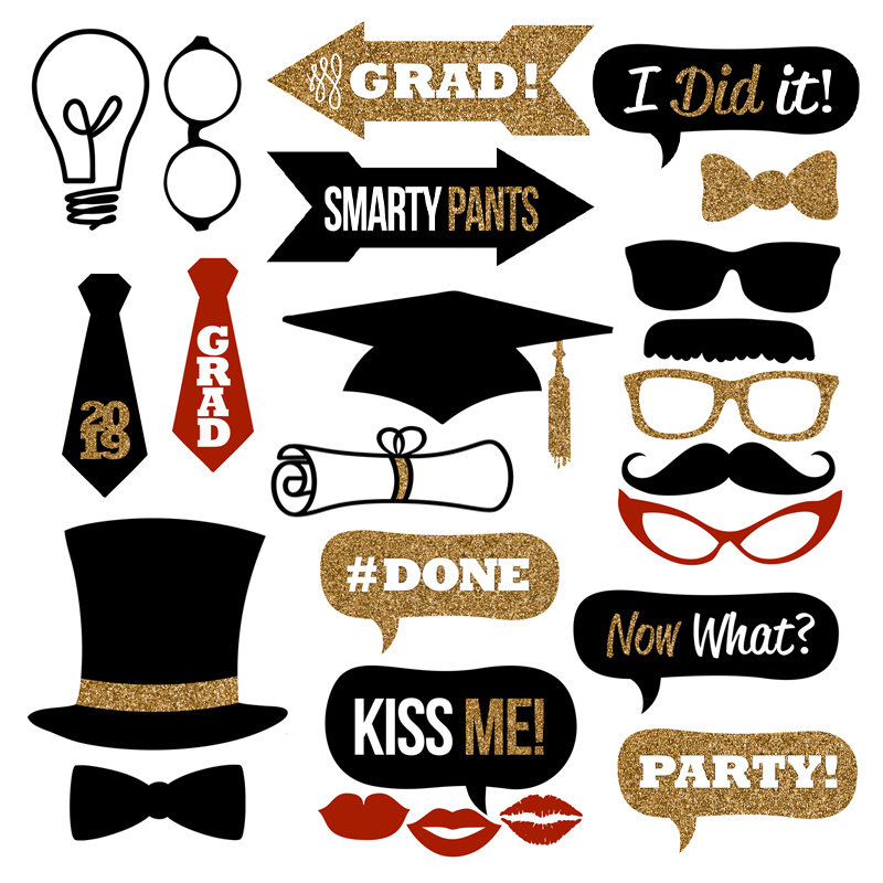 Graduation Photo Booth Props Collection 2019 – Printable Instant Download – Black & Gold Glitter Photo Booth Props for Graduation Parties!