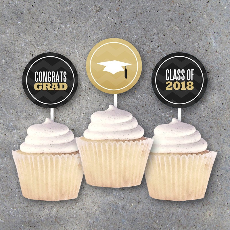 Graduation Tags in Black and Gold – CONGRATS and THANK YOU Party Favors, Cupcake Toppers, Gift Tags, and Decor – Printable Instant Download