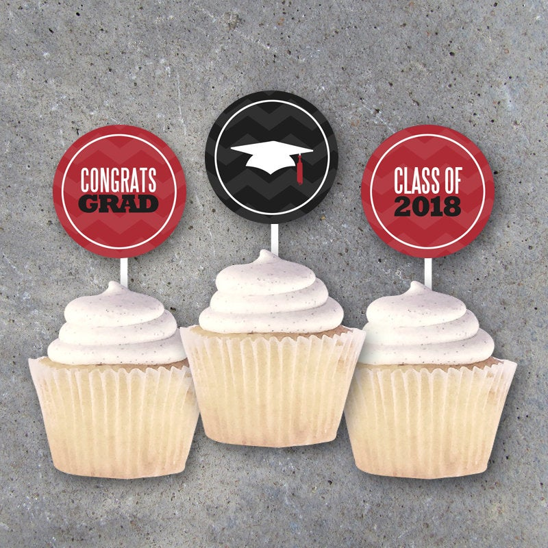 Graduation Tags in Red – CONGRATS and THANK YOU labels for Party Favors, Cupcake Toppers, Gift Tags and Decor – Printable Instant Download