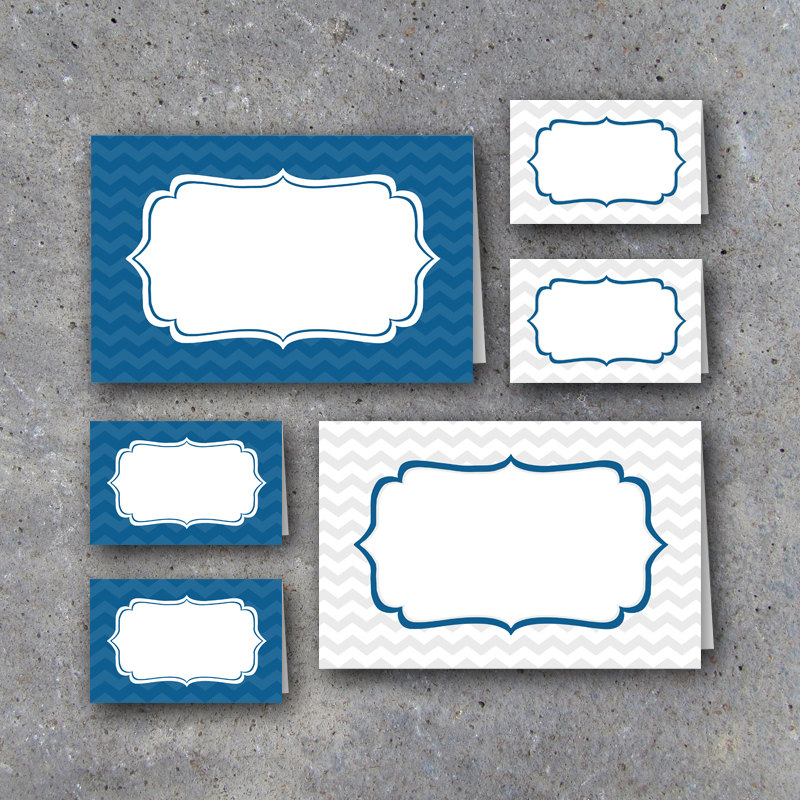 Graduation Tent Cards in Blue and White – Instant Download Printable Files – Blank Graduation Tent Cards for food buffets/name place cards