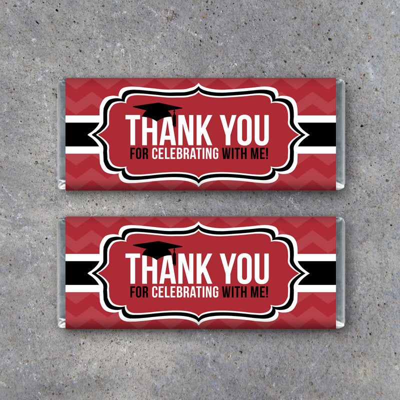 Graduation THANK YOU Candy Bar Wrapper in Red – Instant Download Printable Files – Printable Candy Bar Wrappers – Graduation Party Favors