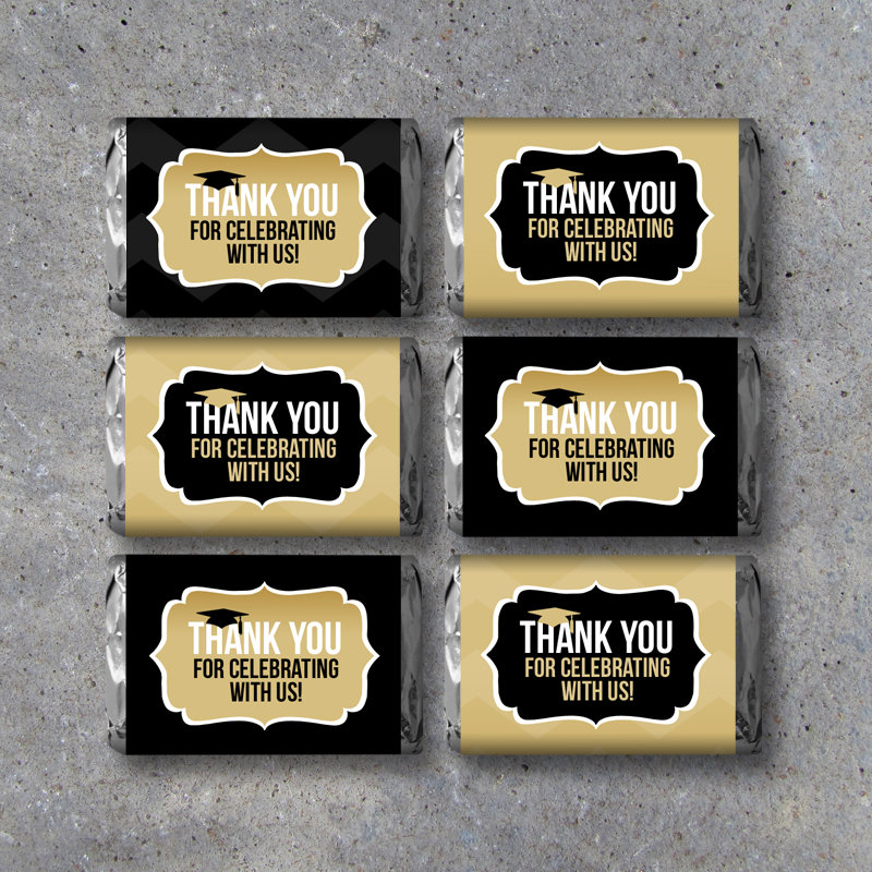 Graduation THANK YOU Mini Candy Bar Wrappers – Instant Printable Files – Party Favors in black and gold – Graduation Gift – Grad Party Ideas