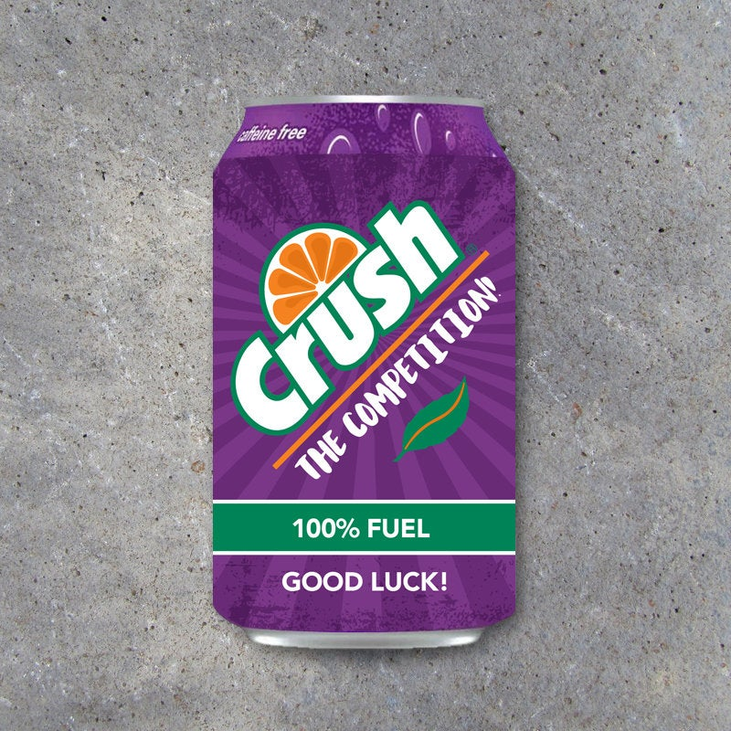 Grape Pop Can Wraps – Printable Sports GOOD LUCK Label Wraps to fit Crush – Game day locker treats – DIY gift ideas for football, volleyball