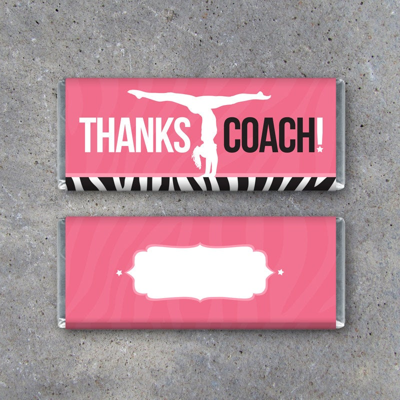 Gymnastics THANKS COACH Candy Bar Wrapper – Printable Instant Download – Hershey's Bar Wrapper with Gymnast on Beam – Gymnastics Coach Gift