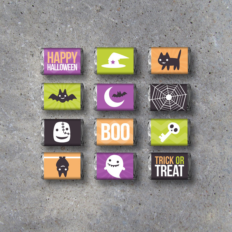 Halloween Mini Candy Bar Wrappers – Instant Download – Printable Candy Bar Wrappers – Halloween Party Favors – Trick or Treat Candy