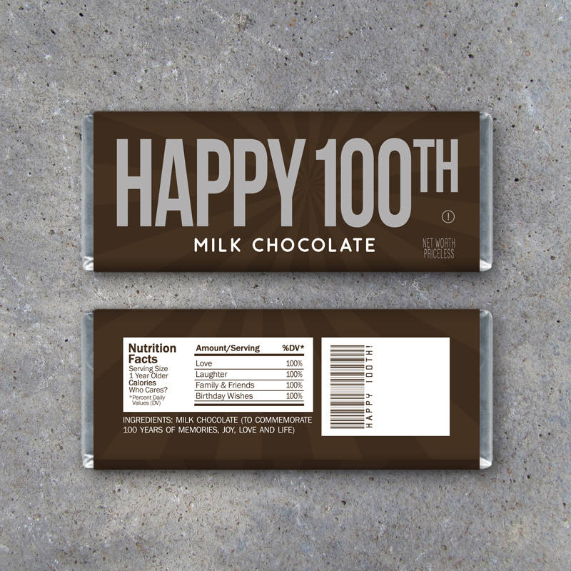 HAPPY 100TH Candy Bar Wrappers – Printable Instant Download – Happy 100th Birthday Hershey's Candy Wrappers – Party Favors, Gift or Gift Tag