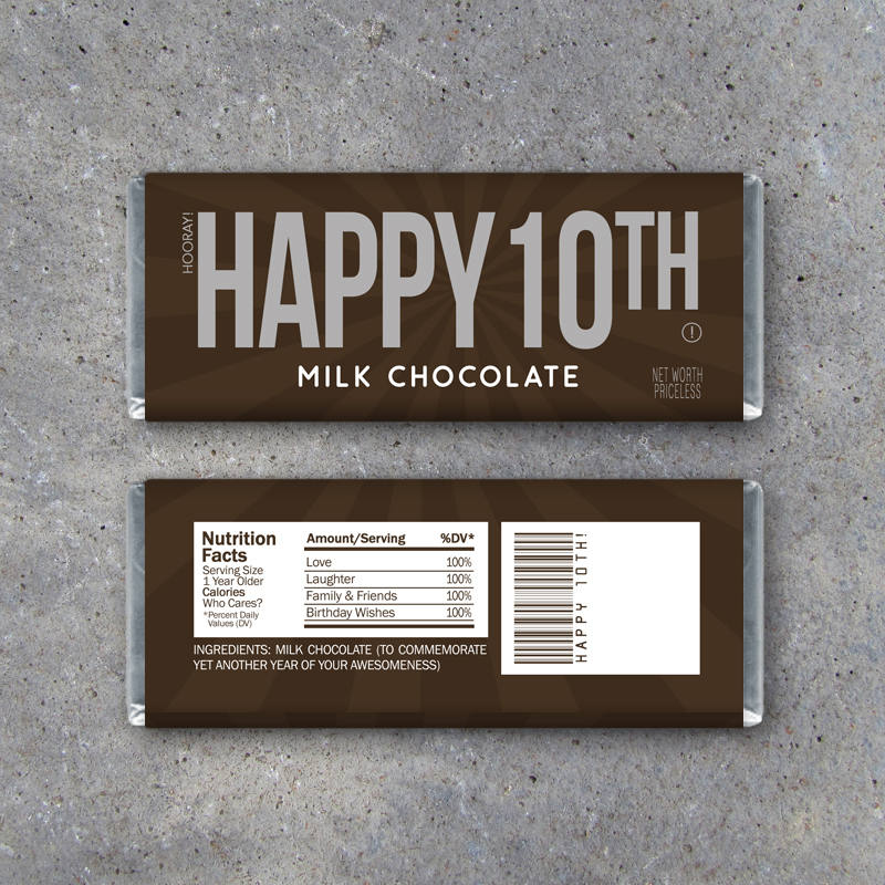 HAPPY 10TH Candy Bar Wrappers – Printable Instant Download – Happy 10th Birthday Hershey's Candy Bar Wrappers – Use as a gift or gift tag!