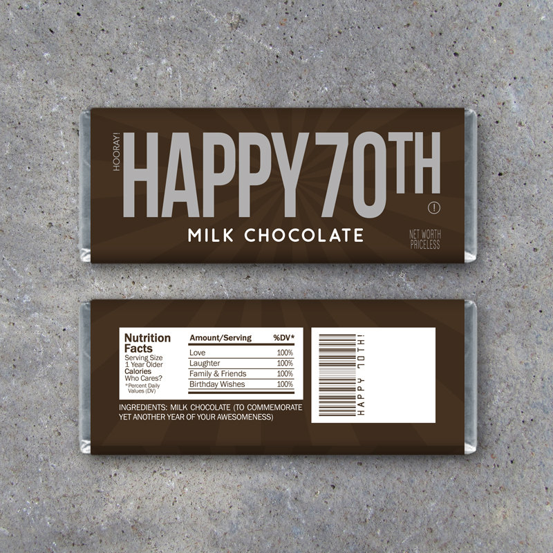 HAPPY 70TH Candy Bar Wrappers – Printable Instant Download – Happy 70th Birthday Hershey's Candy Bar Wrappers – Use as a gift or gift tag!