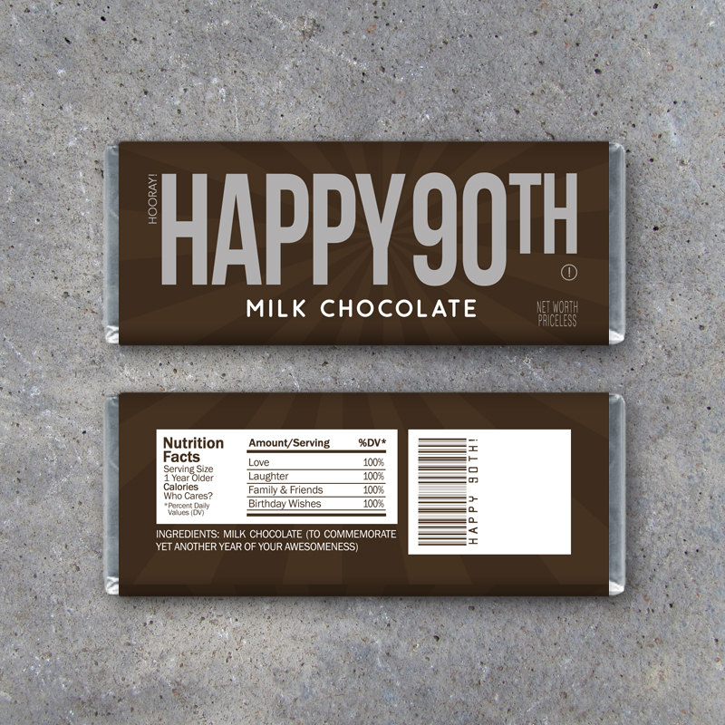 HAPPY 90TH Candy Bar Wrappers – Printable Instant Download – Happy 90th Birthday Hershey's Candy Bar Wrappers – Use as a gift or gift tag!