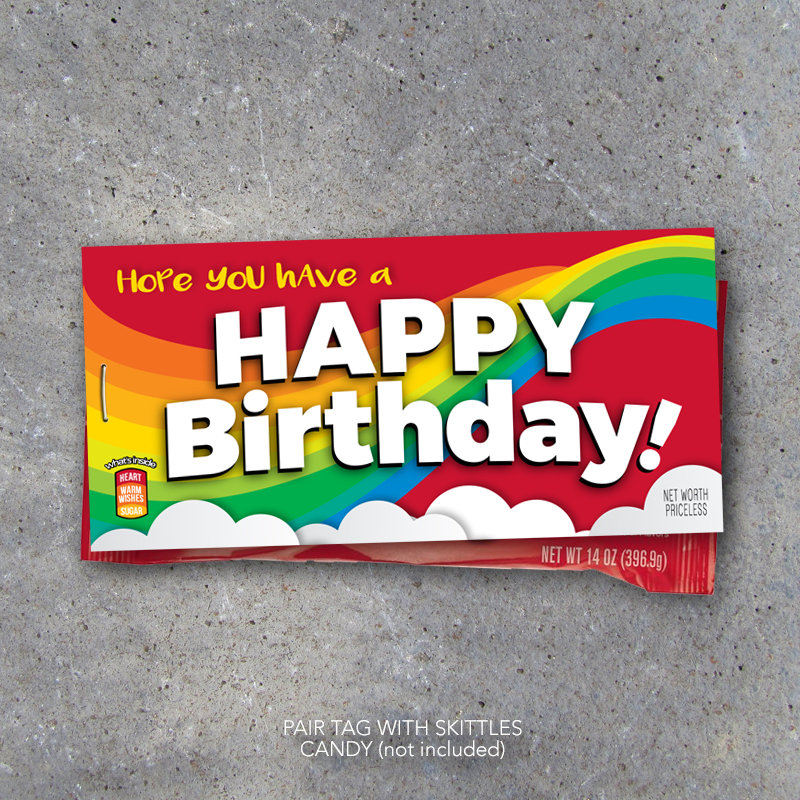 Happy Birthday Gift – Printable Tags to fit Skittles Candy – Happy Birthday Card – Birthday Gift Ideas – Party Favors – Birthday Gift Tag