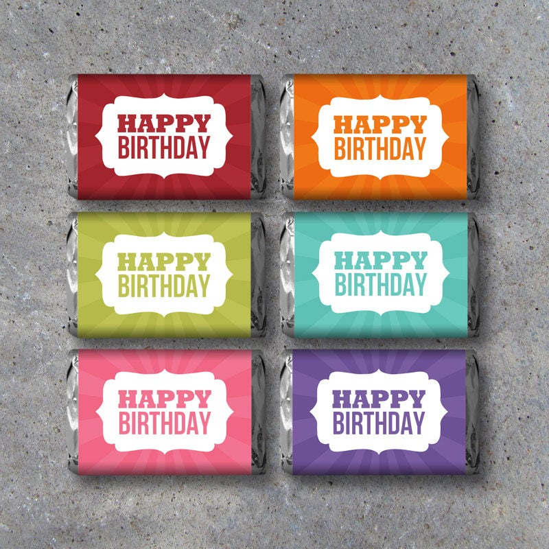Happy Birthday Mini Candy Bar Wrappers in SIX Colors – Printable Instant Download – DIY Birthday Party Favors – Cool Gift Ideas – Hershey's