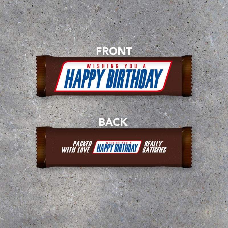 Happy Birthday Printable Candy Bar Wrapper – Instant download fits Snickers – Birthday Gift Idea – Last Minute DIY Gift for Friends & Family