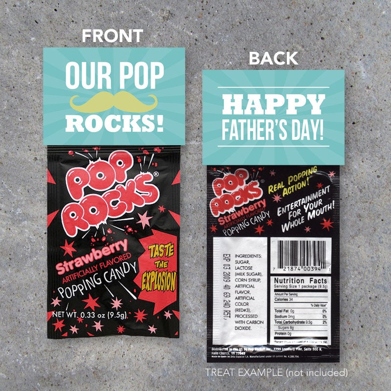 """Happy Father's Day """"Our Pop Rocks"""" Treat Toppers – Printable tags to pair with Pop Rocks – DIY Last Minute Gift for Dad – Father's Day Card"""