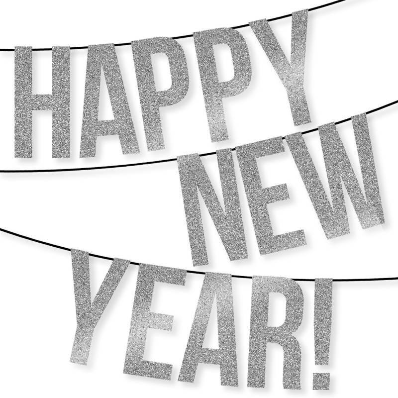 HAPPY NEW YEAR Banner – Instant Download Printable Files – Silver Glitter Individual Letters & Numbers – Pennant – Bunting – Garland – Decor