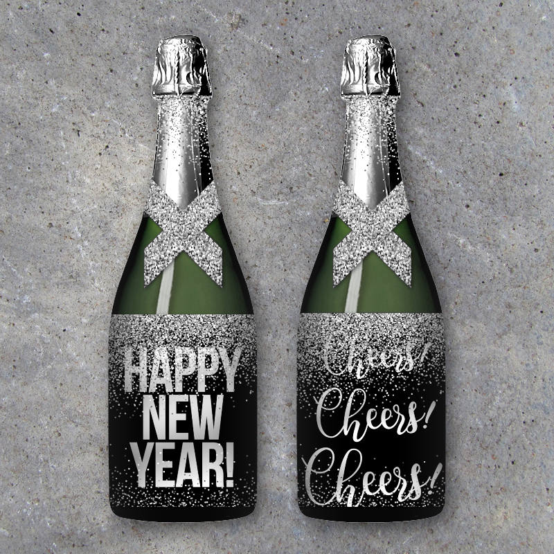 Happy New Year Champange Labels – Printable Silver Glitter Wine or Champagne Wrappers – Cheers! – Last Minute Host or Hostess Gift-NYE Party