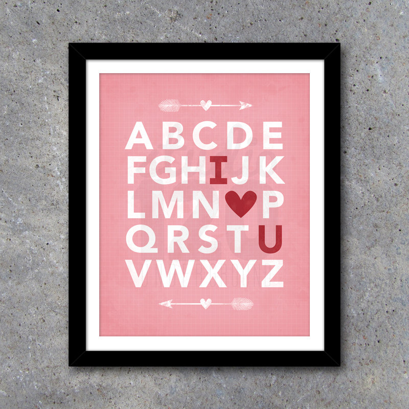 I LOVE YOU Modern Wall Art + Bonus Matching Cards/Lunchbox Notes – Printable Digital Files – Home Decor – Valentine's Day Gift
