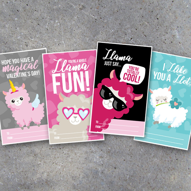 Llama Valentine's Day Card for Kids – Printable Valentines cards for classroom school friends and cute last minute DIY teacher gift tags!