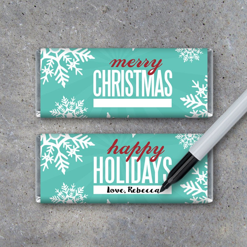 Merry Christmas & Happy Holidays Candy Bar Wrappers – Printable Snowflake Hershey Bar Wrappers – Christmas Card – Gift Tag – School Treats