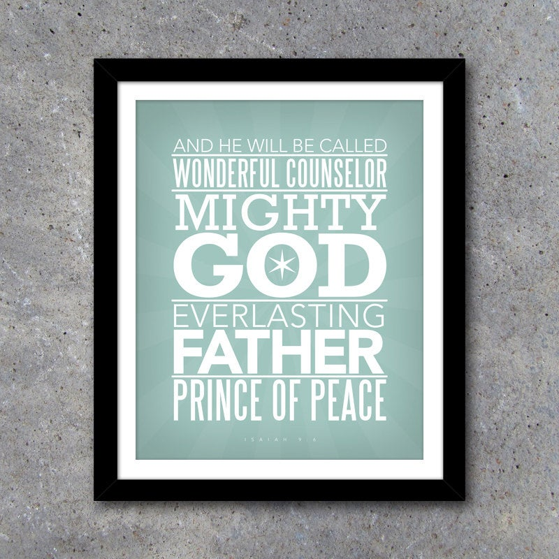 MIGHTY GOD Modern Wall Art – Printable 8×10 Digital Design in Five Different Colors – Christian Home Decor – Scripture Wall Art – God