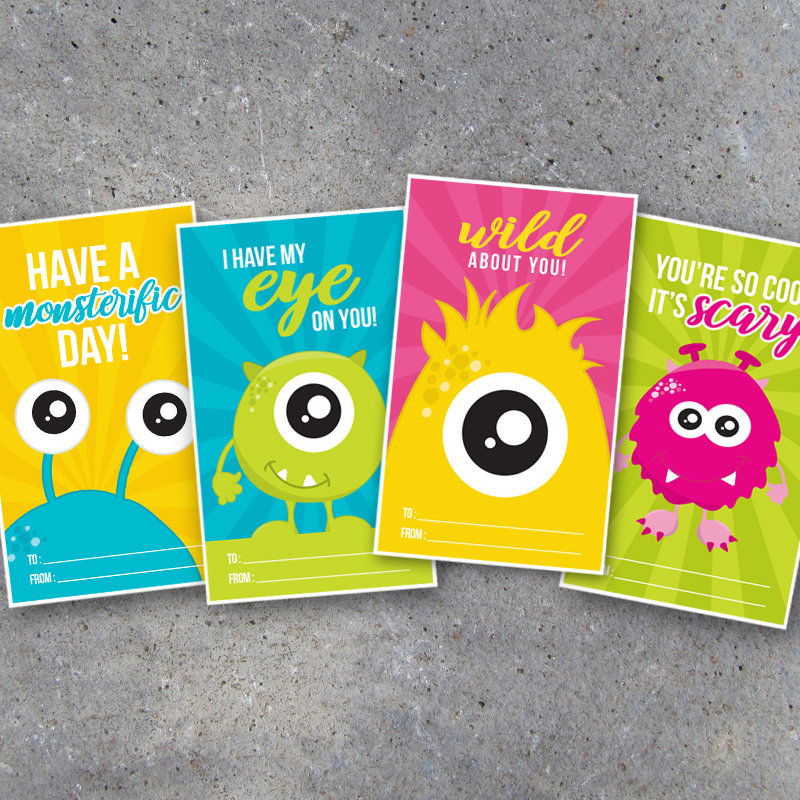 Monster Valentine's Day Card for Kids – Printable Valentines cards for classroom school friends & cute last minute DIY teacher gift tags!