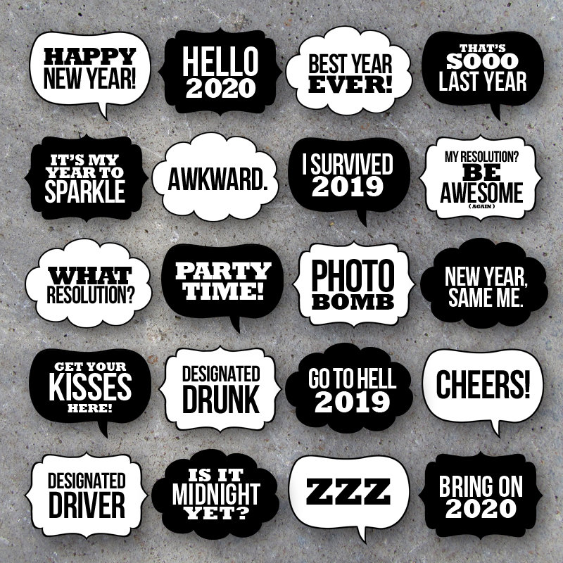 New Year's Eve Talk Bubbles Photo Booth Props Collection – Printable Speech Bubbles – Black & White backgrounds included–Fun DIY Party Ideas