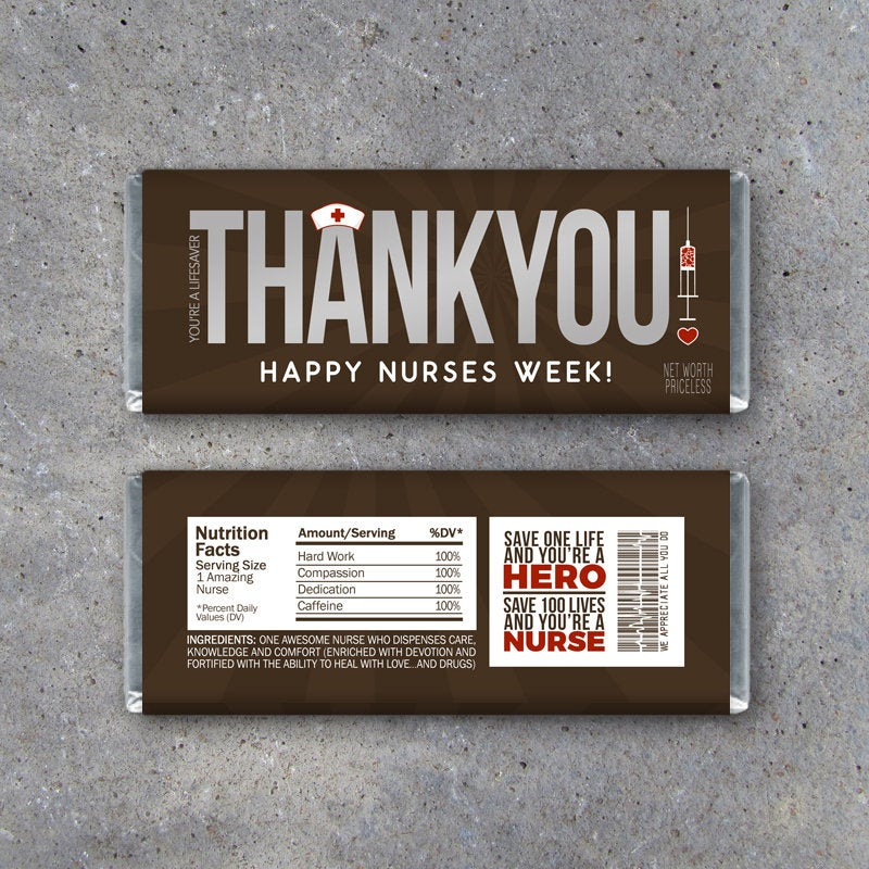 "NURSE APPRECIATION GIFT – Printable ""Thank You"" Candy Bar Wrappers Instant Download – Happy Nurses Week Gift – Thank You Gift for Nurses"
