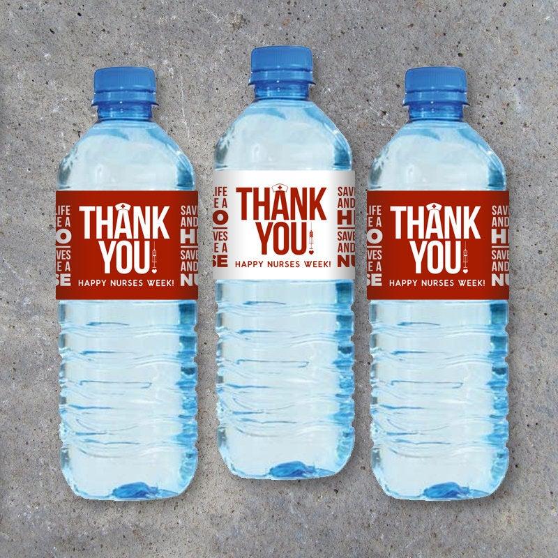 "NURSE APPRECIATION GIFT – Printable ""Thank You"" Water Bottle Labels Instant Download – Happy Nurses Week Gift – Thank You Gift for Nurses"