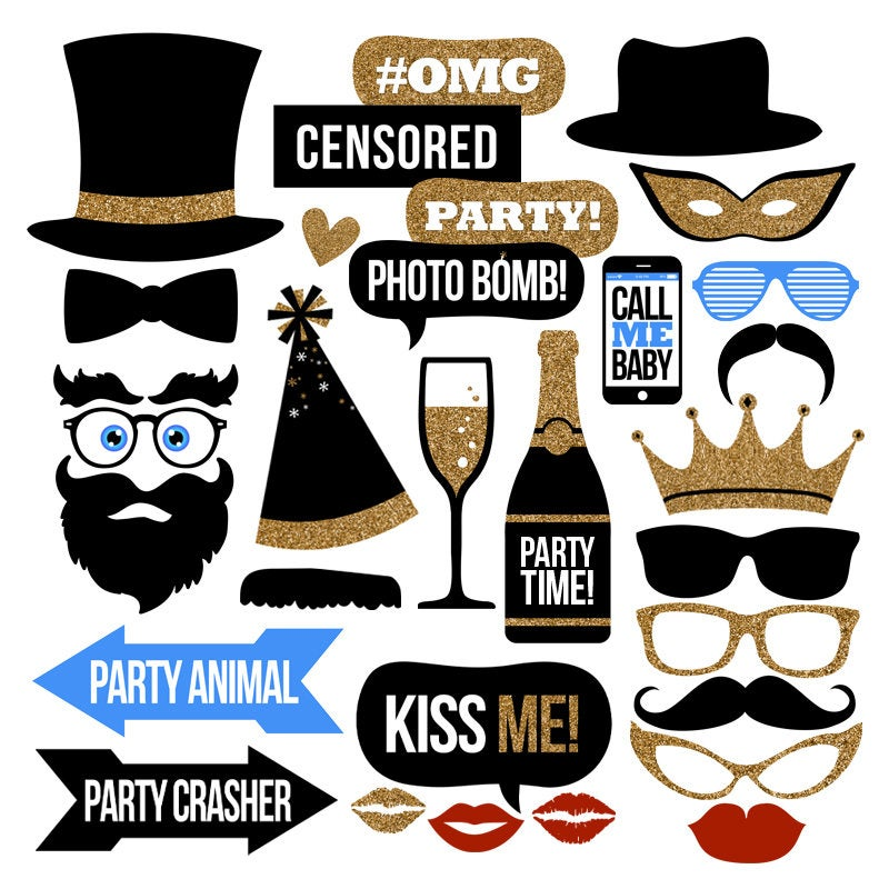 Party Photo Booth Props Collection – Printable Instant Download with BONUS DIY Blank Speech Bubbles – Party Decor – Digital Party Props